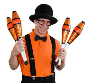 juggler nerdy noah poses with juggling clubs