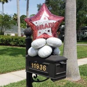 Graduation mailbox topper balloon decor tampa florida