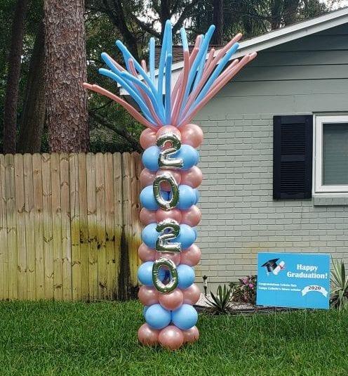 Graduation 2020 yard art balloon column color stack