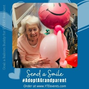 happy senior citizen with balloon delivery in tampa florida