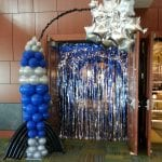 Rocketship sculpted balloon column for entrance of door
