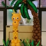 Jungle Giraffe Balloon Column and Palm Tree Decor