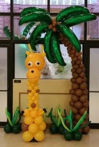 Jungle Giraffe Balloon Column and Palm Tree Decor