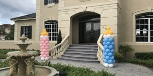 Baby bottle pink and blue entrance for gender reveal