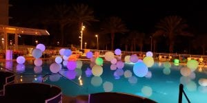 Light up pool decorations for hotel