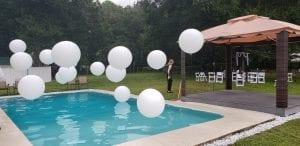 Organic wedding pool decorations white