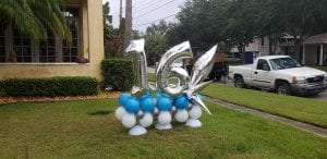 Happy 16th birthday balloon decorations in yard tampa florida