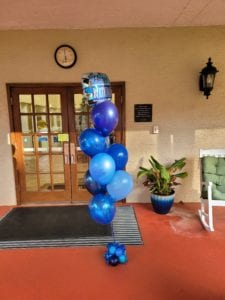 Happy Birthday balloon decor delivery bouquet to a nursing home