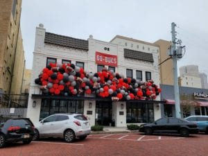 Oxford Exchange balloon installation for Buccaneers Tampa Bay Superbowl Event