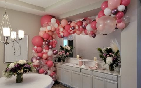 Home balloon decorations organic pinks and rose gold display for birthday