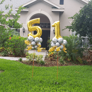 51st Birthday Delivery for lawn display with balloons
