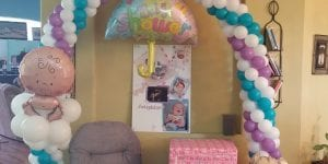 Baby Shower Balloon Arch with baby on cloud and teddy bear