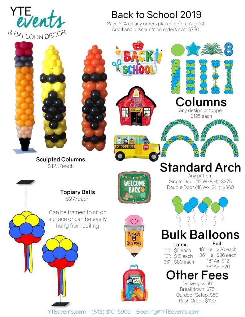 back to school balloon decor flyer for prices for balloon decorations for back to school events