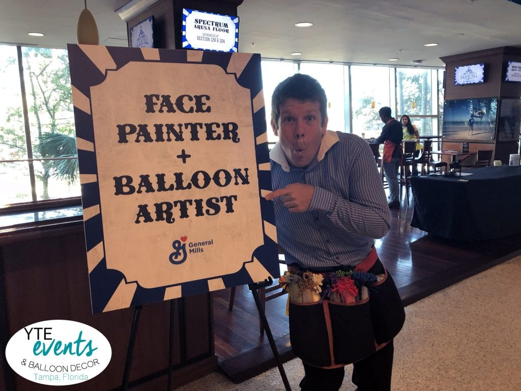 Balloon Artist and Face Painter for the Amalie Arena Event