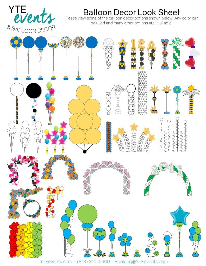 Different types of balloon decorations