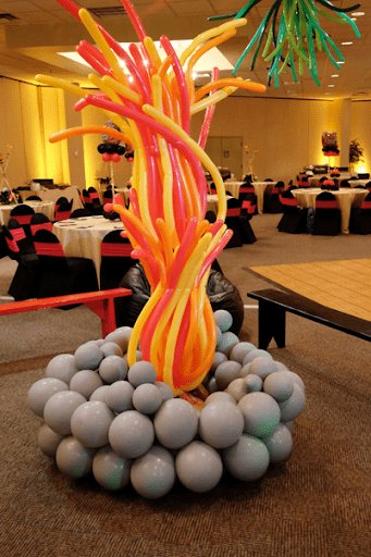 Balloon Decor Mitzvah Fire Survivor themed decorations