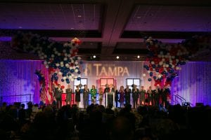 tampa chamber of commerce balloon drop for event on stage