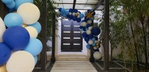 Balloon Entrance Organic Decor Blue White Gold