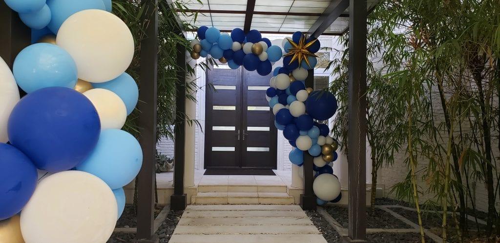 Balloon Entrance Organic Decor Blue White Gold