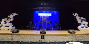 Balloon Stage Decor for Gaither High School Showcase organic white and blue school colors