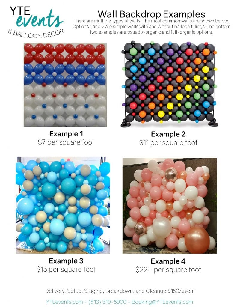 Shows the balloon wall price sheet with 4 different types of balloon walls and their prices