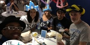 Balloon hats for a bunch of grown kids at the Rays game having fun