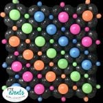 Balloon wall with neaon color decorations in neon rainbow design