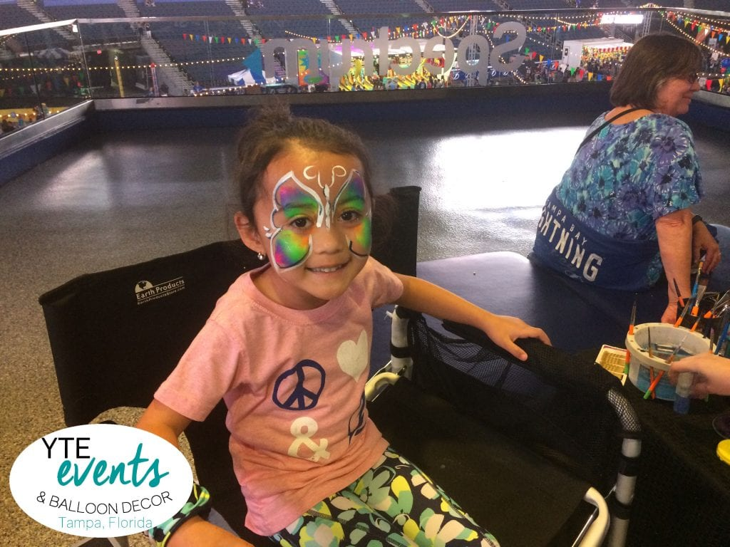 Beautiful butterfly face painting from an event in Tampa