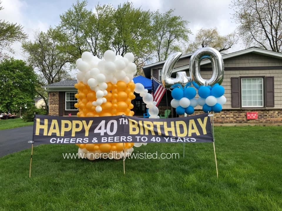 Beer mug outside for yard art decor birthday celebration
