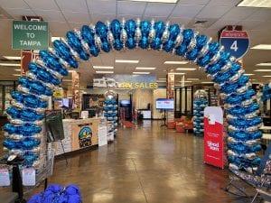 Camping World Tampa Florida Balloon Arch Foil Balloons Blue Silver Balloon Foil Columns