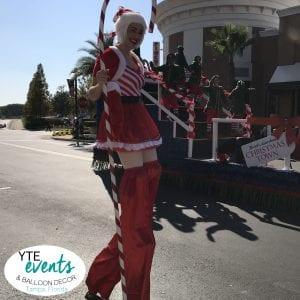 Candy Cane Stilt Walker in Macy's Parade Wiregrass