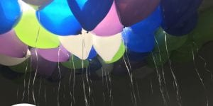 Ceiling filled with balloons for an event