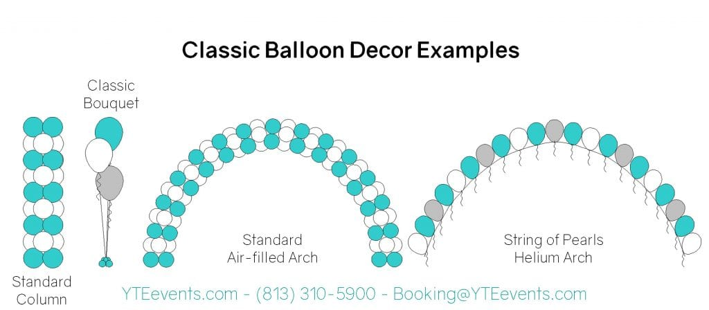 Shows examples of classic balloon decor, specifically standard column, classic bouquet, standard air-filled arch, and string of pearls helium arch