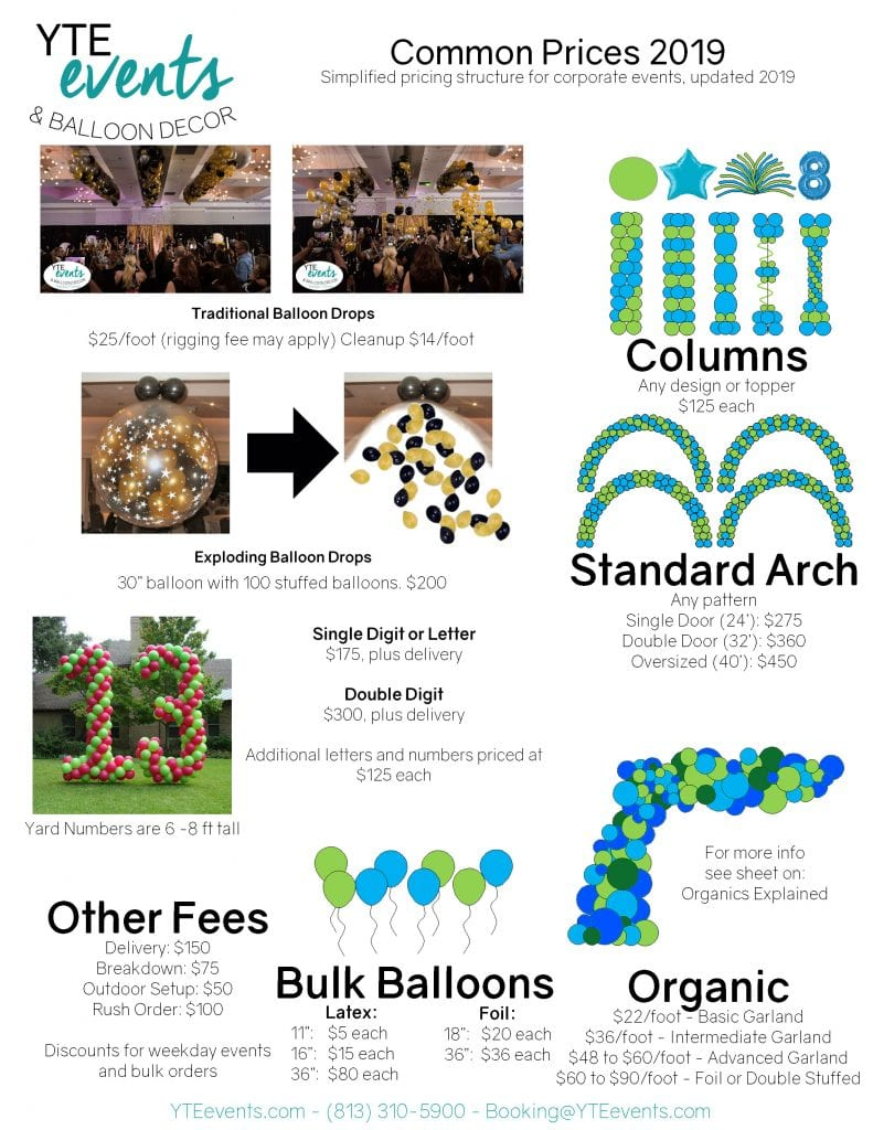 Price list for balloon decor including columns, arches, balloon drops, and loose helium balloons