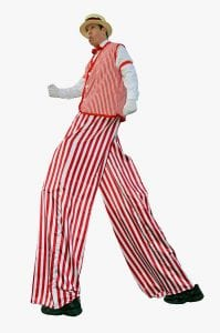 Coney Island Stilt Walking Entertainer with Red Stripes