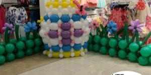 Easter Egg Balloon Sculpture Photo Area in Macys Holiday Event
