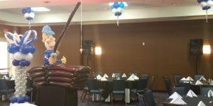 Fisherman dance floor balloon decorations for retirement party