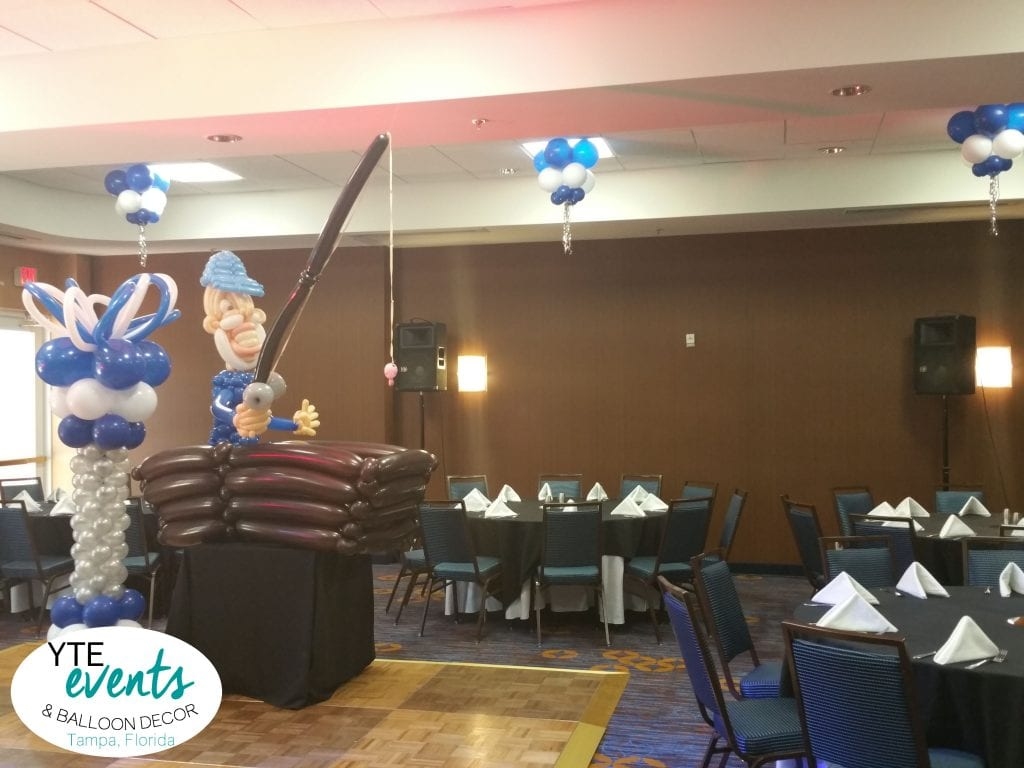 Fisherman dance floor balloon decorations for retirement party