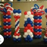 Fourth of July themed event for balloon column decorations at rays baseball game
