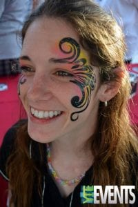 Fun Eye Swirl Face Paint from Miss Kara at one of her events in Tampa