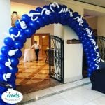 Fun Hairy Square Pack Blue and White Balloon Arch for Lightning Event