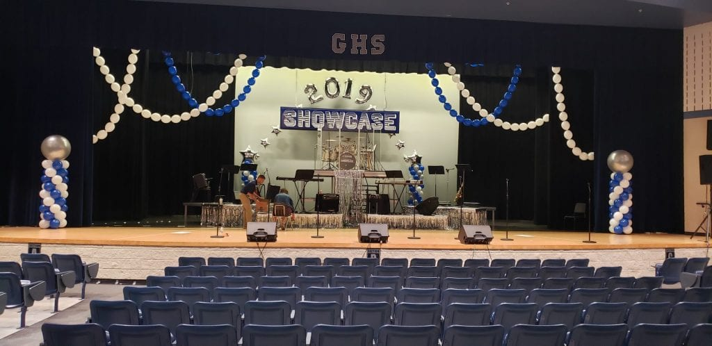 Gaither High School Stage Decorations Linking Garland and Columns 2019 Showcase