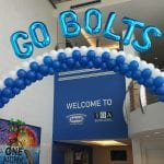 Go Bolts Themed Arch for Hockey Playoffs with Balloon Decor