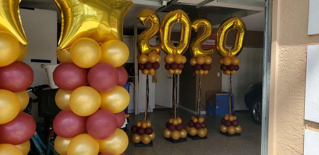 Graduating 2020 Burgundy and Gold Balloon Decorations Columns