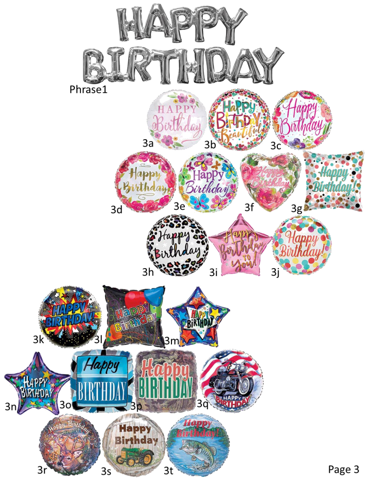 Happy Birthday Foil Balloon Options male and female