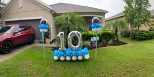 Happy 10th Birthday Balloon Decorations for Central Florida Lawn Display