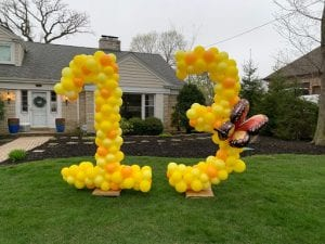 Happy 13 birthday balloon display large yard number balloons yellow butterfly