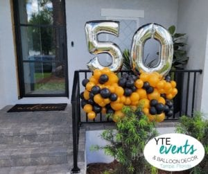 Happy 50th Birthday Balloon Decor entrance sculpture organic black and gold