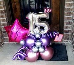 Happy Birthday 15 number balloon delivered to the door