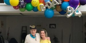 Happy Birthday 94 Veteran organic delivery drive by event colorful fun smiling balloons